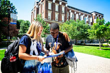 """This is a photo of new WIldcats on campus for """"see blue."""" U Orientation."""
