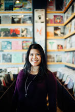 photo of Alexandria Le in record shop