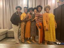 "photo of Christopher Kenney, Markel Reed, Christine Jobson, Andrea Jones-Sojola, Denisha Ballew and Karmesha Peake in costumes for ""Fire Shut Up in My Bones"""