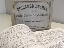 """photo of cover and pages from """"Polished Pearls for Sunday Schools and Protracted Meetings"""""""