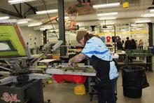 photo of student working in printmaking studio - Open Studio 2015