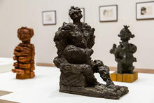 """photo of """"Semi-Aggressive"""" by Reuben Kadish and surrounded by 2 other sculptures"""