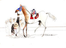 "photo of illustration ""The Kentucky Derby is Decadent and Depraved"" by Ralph Steadman"