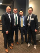 photo of Quint Tatro, Will Smith, Michael Zhu and Frank Zhang at Stock Pitch competition