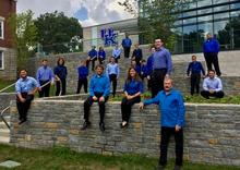 photo of UK Percussion Ensemble outside Student Center
