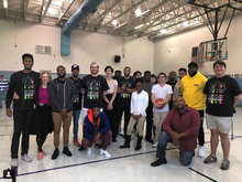 "photo of ""Bounce"" cast and crew at local school"