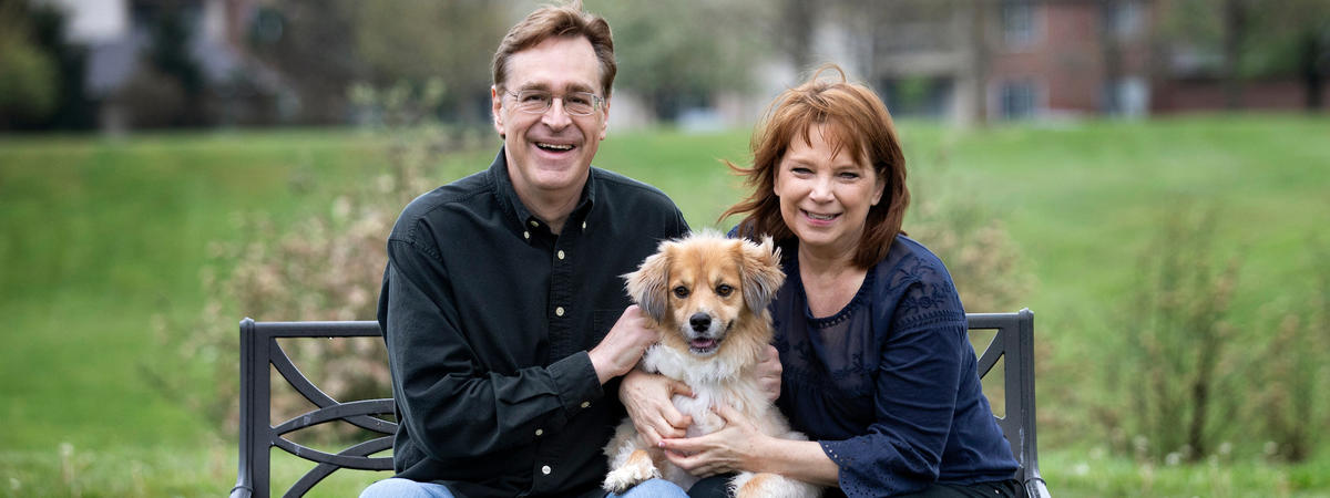 Photo of Gregg and Kim Whiteker with their dog Gracie. Mark Cornelison   UK Photo