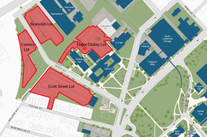Map of alternative parking lots