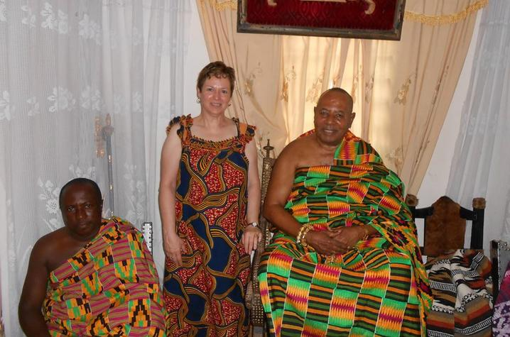 Kim Spillman with village leaders in Adjeikrom
