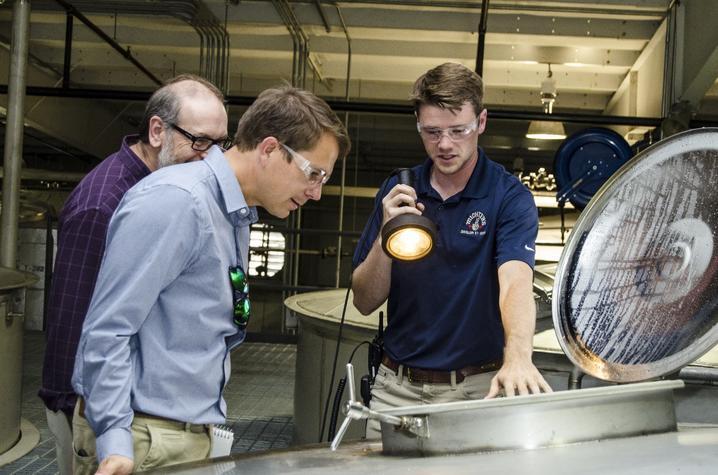 photo of Bert Lynn, Seth DeBolt and Ben Beam at Michter's Distillery