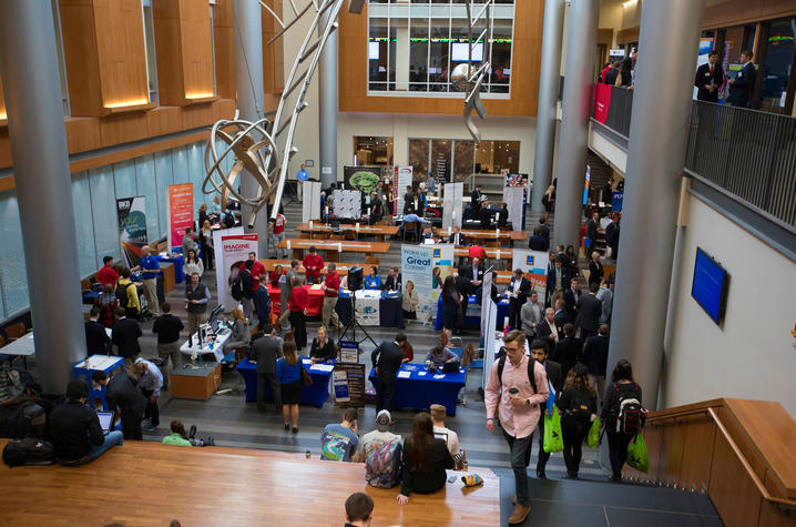 This is a photo of a job fair inside UK's Gatton College of Business and Economics.