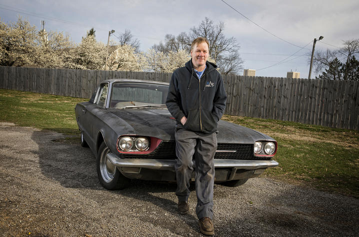 Photo Gill Heart and Vascular Institute patient Jason Conn with his 1968 Ford Thunderbird