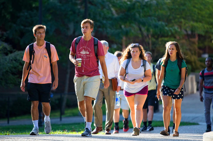 This is a photo UK students on the first day of classes.