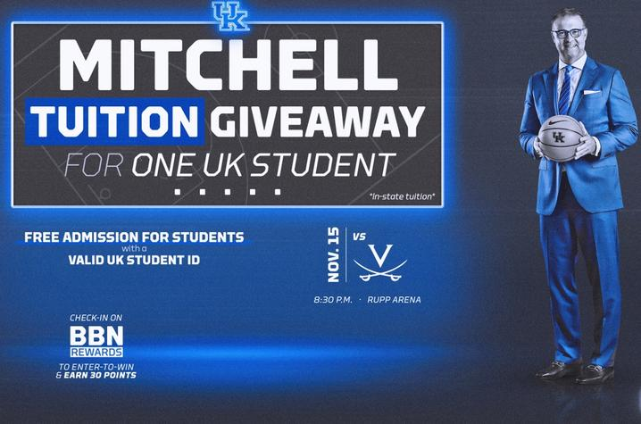 photo of Mitchell Tuition Giveaway ad for Nov. 15 game