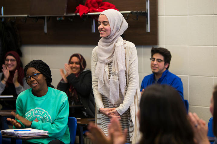 photo of Hadeel Abdallah learning she won a Truman Scholarship
