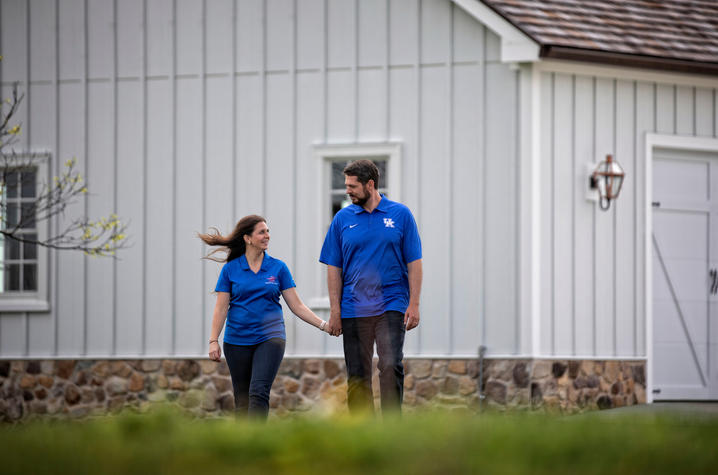This is a photo of UK alumnus Jacob Tamme, with his wife Allison Tamme.