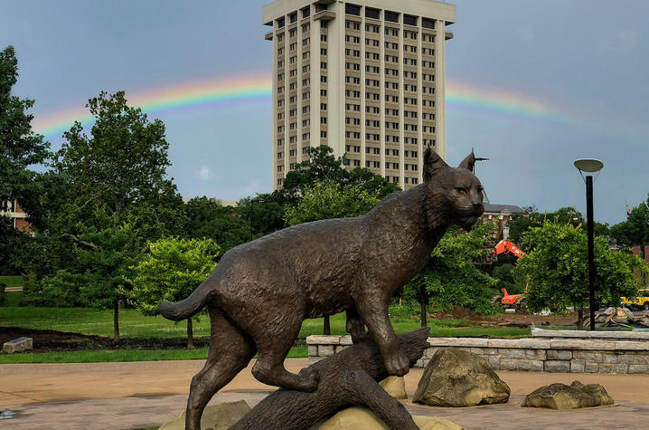 photo of Bowman statue with rainbow behind it