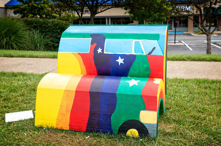 "photo of book bench for ""Divine Right's Trip"""