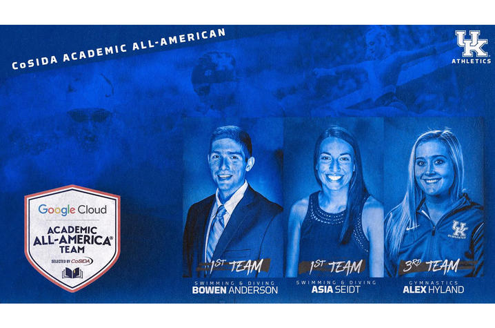 photo of graphic with 3 student-athletes named CoSIDA Academic All-Americans