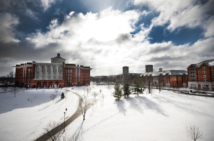 Photo of William T. Young Library in the snow