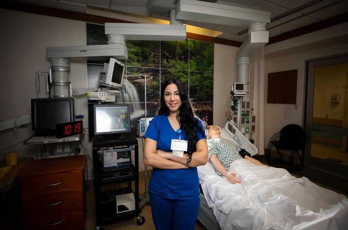 Photo of Serxhane Ajeti in nursing simulation center
