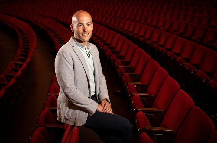 photo of Nick Covault in audience chairs at Kentucky Center