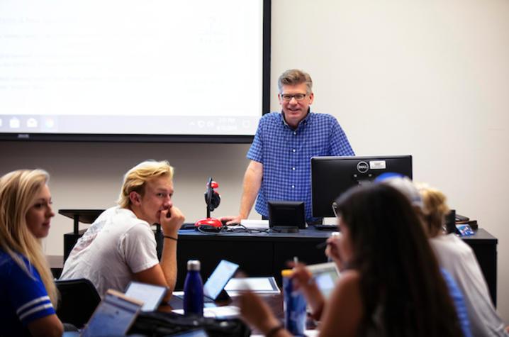 Professor teaching a class.