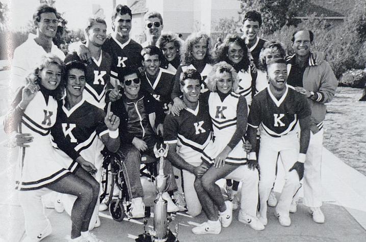 black and white photo of UK Cheerleaders from 1988 Kentuckian