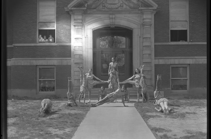 black and white photo of Dunbar High School Cheerleaders