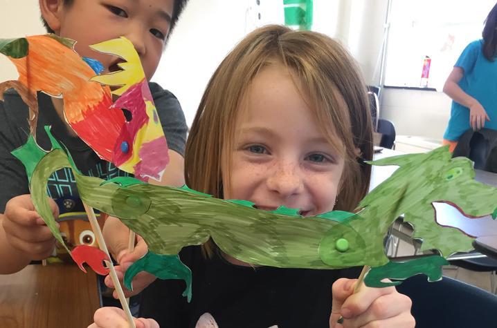 photo of 2 kids at Confucius Institute spring break camp