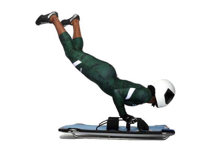 Photo of Simidele Adeagbo on skeleton sled