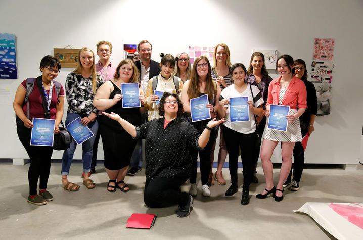 photo of award winners with faculty and artist Jessica Burke at 2019 Foundations show