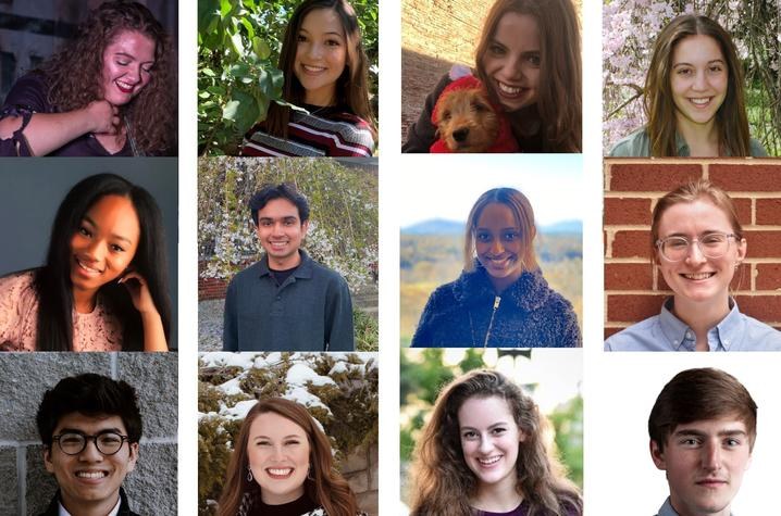 12 headshot photos of the 2021 Gaines Center Fellows