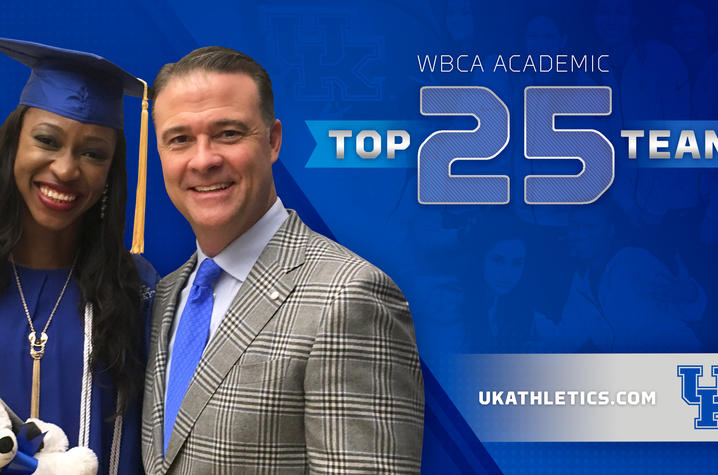 photo of Matthew Mitchell and basketball player from top 25 WBCA Academic team