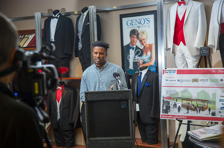 "photo of Rakeem Bradshaw at ""The Music Lounge"" ribbon cutting"