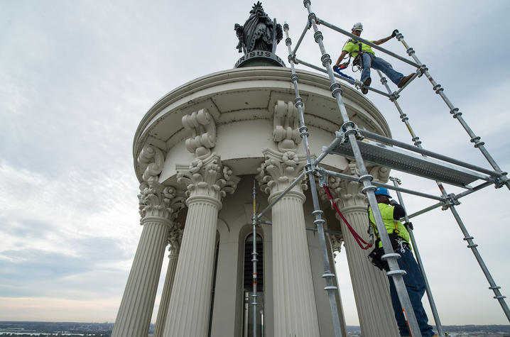 """photo of """"Statue of Freedom"""" being restored"""