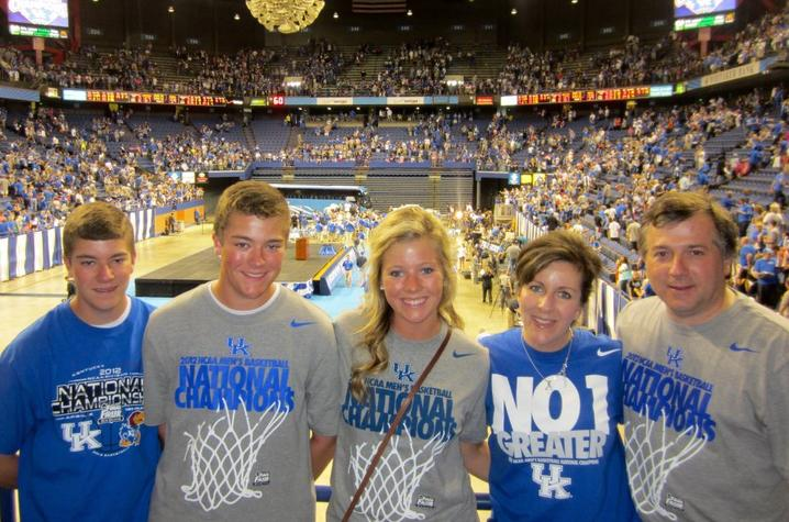 This is a photo of Chase and Clay Thornton with Their Family at Rupp Arena in 2012