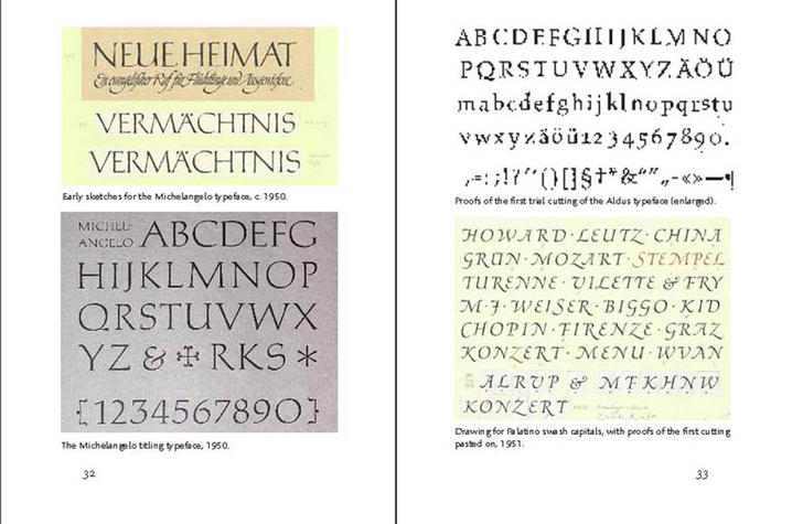 "photo of types by Hermann Zapf in ""About More Alphabets: The Types of Hermann Zapf"" by Jerry Kelly"