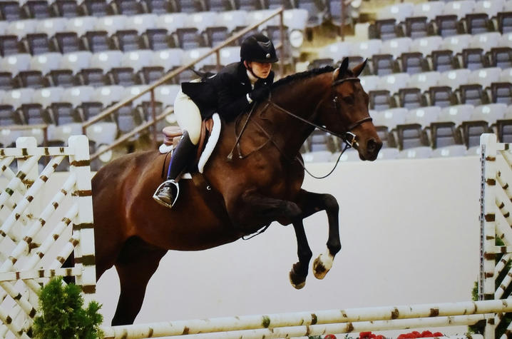 Alexis Johnson and her horse Joey jump in competition.