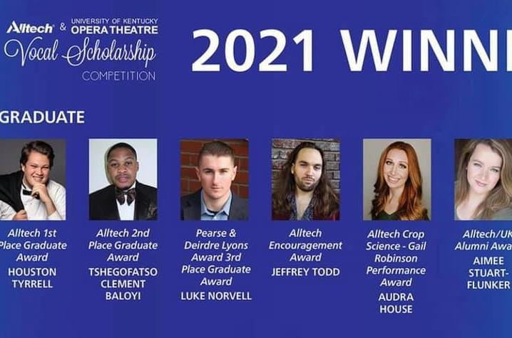photo of graduate winners at 2021 Alltech Vocal Scholarship Competition.