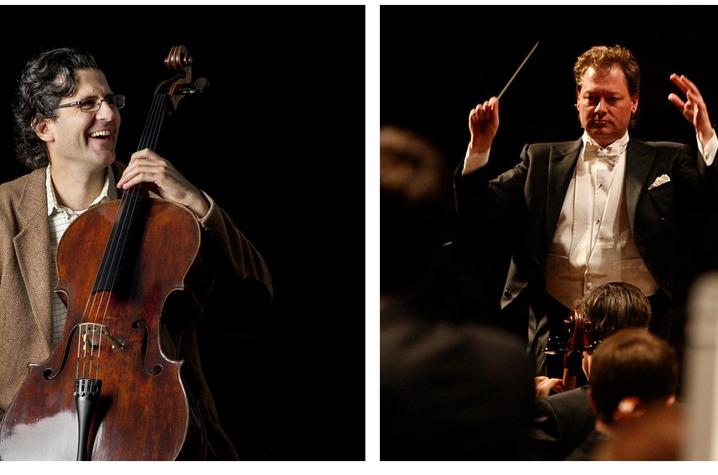 photos of Amit Peled with cello and John Nardolillo conducting
