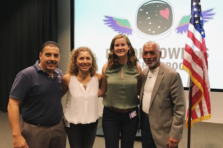 photo of José Hernandez, Anousheh Ansari, Esther Putman and Charles Bolden