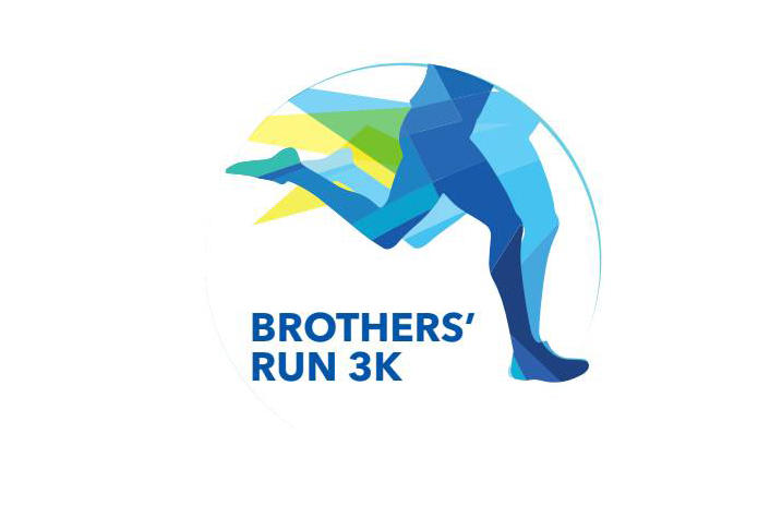 Brothers' Run 3K logo of blue and yellow legs running