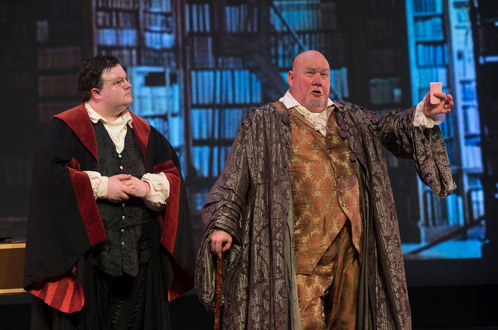 "photo of Taylor Comstock and Kevin Glavin in UK Opera Theatre's ""The Barber of Seville"""