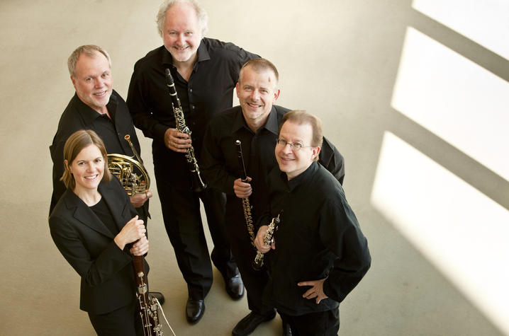 photo of Berlin Philharmonic Wind Quintet with instruments shot from above