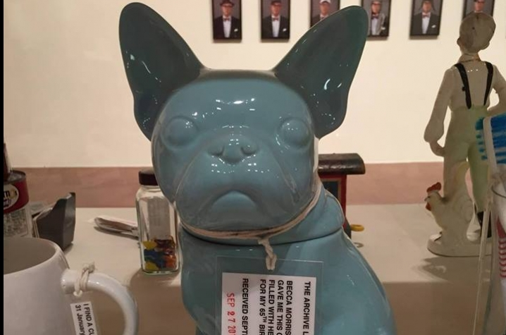 "photo of ceramic dog in ""The Archive"" in Louis Zoellar Bickett ""Saving Myself"" exhibition"