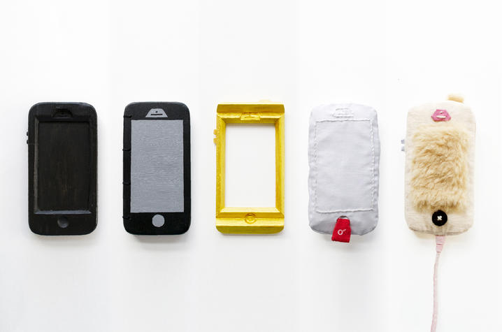 "photo of a series of mixed media work in the shape of 5 cell phones titled ""With/Without"" by Mia Cinelli"