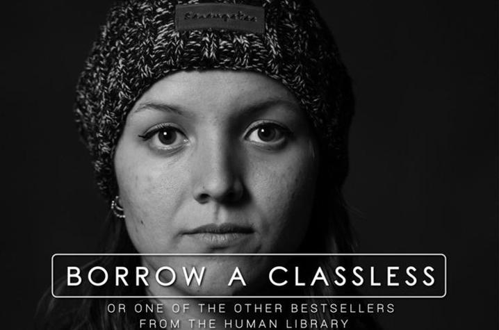"photo of Human Library ""Borrow a Classless"" poster"