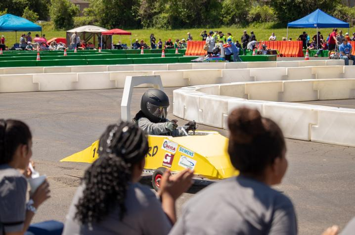 photo of student racing electric vehicle