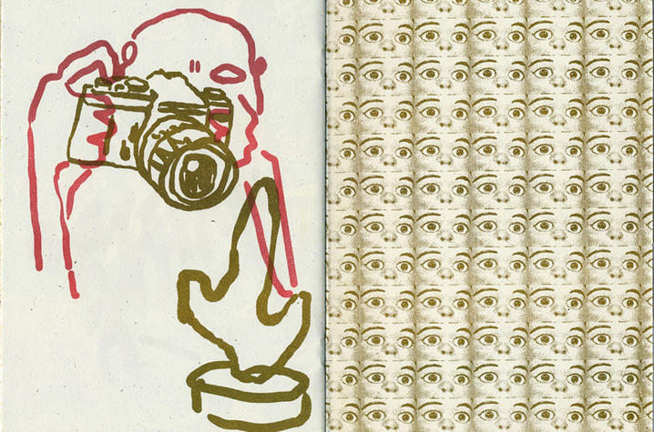 """photo of detail from """"Face Factory"""" zine by David Wischer"""